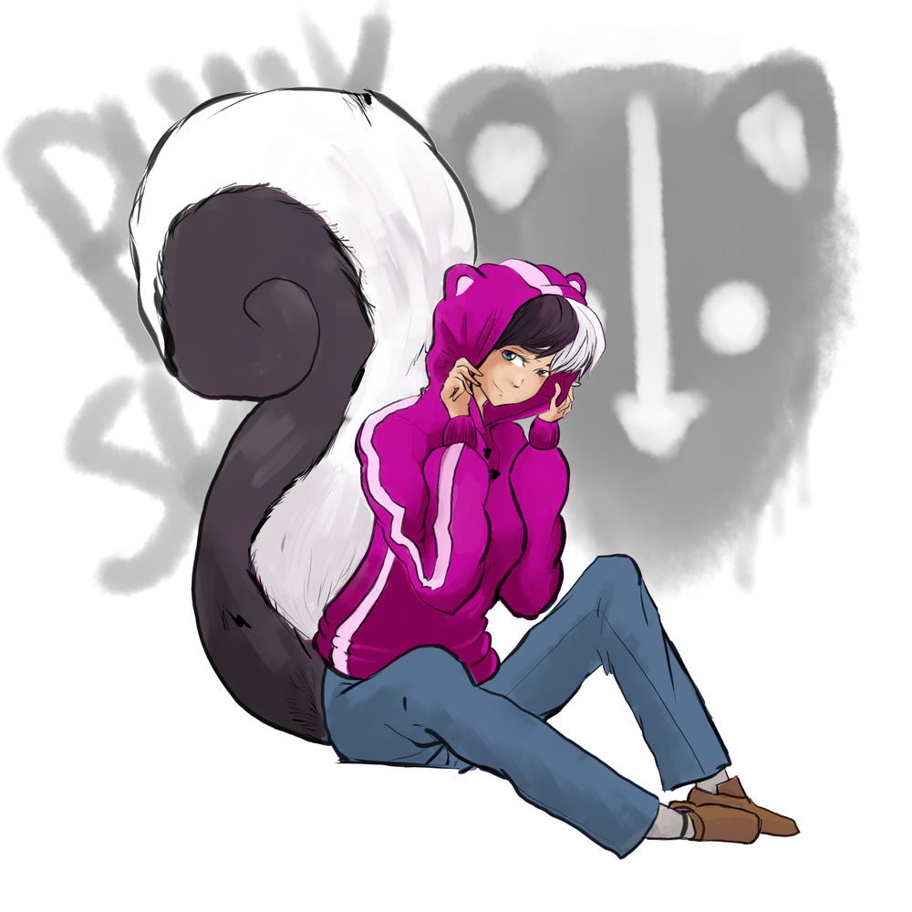 Lulubelle, a skunk-themed human wearing a pink hoodie with round skunk ears and having a big fluffy black and white skunk tail. She's in front of a spray-painted 'punk skunk' background.